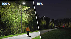 Dim luminaires to 10 % when the paths are not in use